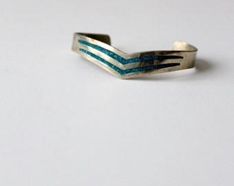 vintage turquoise cuff, Mexico paca bracelet