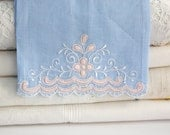 Linen Hand Towel / Vintage Tea Towel / Embroidered Pink & White on Blue Linen / Bath Decor / Hostess Gift