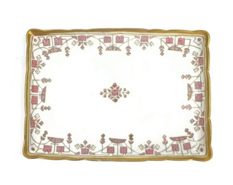 Art Deco Dresser Tray - Porcelain Tray, Vanity Tray, Hand Painted Tray, Nippon, Made in Japan, c1910s