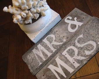 Mr. & Mrs. Sign, Table Decor, ORIGINAL Hand-painted Wedding/Shower Keepsake Perfect Patina Created on Antique Slate Roof Tiles Color Options