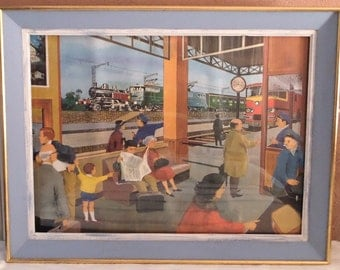 Large French Vintage School Poster 1960s , The  Railways Station & The  Farm