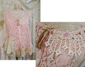 Shabby Pink Top, soft romantic layers of lace, womens sleeveless top, lace tank top MEDIUM