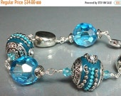 ON SALE Teal Kashmiri Bracelet with Faceted Iridescent Crystals