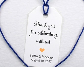 Wedding Favor Tag, Personalized Thank You Tag, Bridal Shower Tag, Gift Tag, Thank You for Celebrating With Us Tag - Set of 25 (SMGT-SAM)