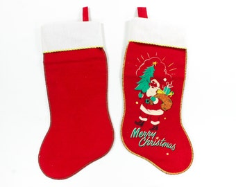 Vintage Christmas Stocking - Santa, Tree, Presents - Merry Christmas - White, Yellow, Green Mid Century Cartoon Felt Novelty Unused Mint