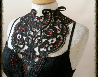 Couture lace tattoo black bib  necklace COLLAR  BURLESQUE  Gothic sexy Burning Man Festival
