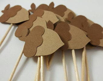 Thanksgiving Acorn Toothpick Toppers: 12 Cupcake Toppers, Thanksgiving Decorations