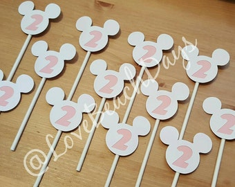 Minnie Mouse Cupcake Toppers/ 2nd Birthday Cupcake Toppers/ Food Decorations