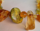 TRENDING HOLIDAY GIFTS - Lime Green Turquoise, Amber, Golden Agate and Yellow Quartz Necklace