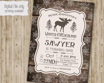 Winter ONEderland Invitation, Wood First Birthday Invite, Printable, Lumberjack Invitation, Winter ONEderland, Rustic, Snow, First Birthday