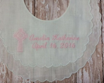 Custom Personalized Double Scallop Linen Christening/Baptism Bib - Special Occasion Gift for Girl or Boy