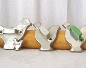 Vintage Chicken Aluminum Cookie Cutters Baking Cookies Dough Cutters 1960s