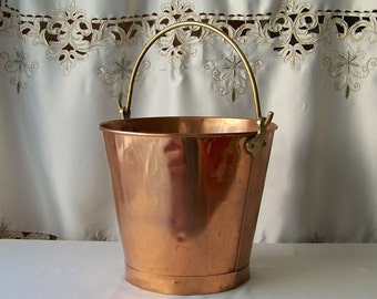 Vintage Copper Kindling / Ash Pail Copper Decor Pail Fireplace Tools Country Decor Vintage 1980s