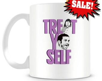SALE - Treat Yo Self Coffee Mug with minor imperfections - Treat Yo Self - Best Friends - Sale - Donna and Tom - Friendship - Mug - Gift