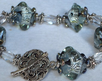 Crystal Night Lampwork, Rock Crystals, Bali Silver Bracelet