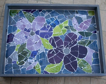 Floral mosaic servingtray