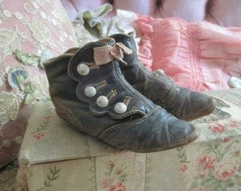 Antique Victorian Baby Toddler Shoes Dusty Dark Blue Leather White Buttons Pink Bow