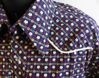 Vintage Lee Pearl Snap Western Shirt XL tail Navy floral