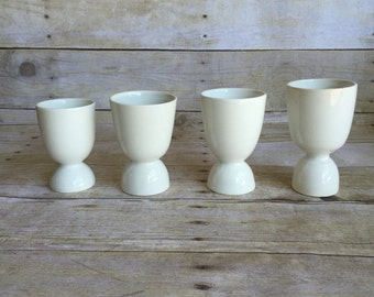 Vintage White Ceramic Egg Cups - Set of Four Cups -