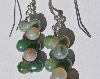 Multicolor India Agate Cluster Earrings
