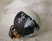 Glass Christmas Ornament, Hand Painted Cardinals N Snowman - White Pines, Aspen, Snow Scene, and Falling snow, on a Black Christmas Ornament