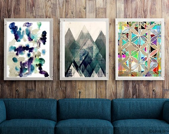 Prints, print set, abstract print set, abstract art set, art set, gallery set, gallery wall, tribal  print, watercolor print, watercolor