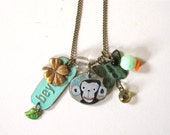 SALE - Beyond Monkey Necklace with Manon Gauthier Illustration - Found objects vintage recycled pieces upcycle