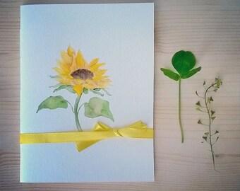 Helianthus - Handmade and Handpainted Notebook