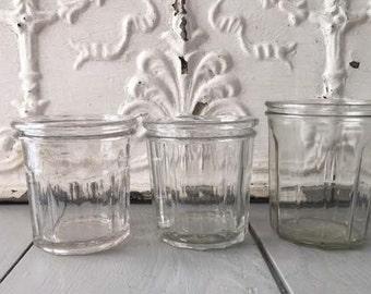 Vintage French jelly jars x 3 jars