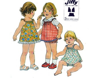 "Baby or Toddler JIFFY Easy Sewing Pattern Dress Or Jumper with Bloomers Elastic Waist and Legs Size 1 Breast 20"" (51 cm) Simplicity 8048 S"