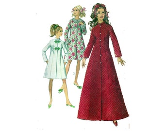 "Womens Robe Sewing Pattern Princess Seams Mandarin Collar Vintage Flared 1960s Size 12 Bust 34"" (87 cm) Simplicity 7911 S"