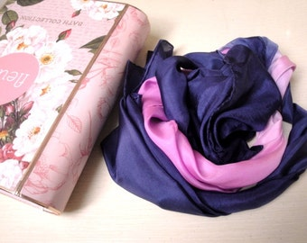 Peonies & Iris Hand Dyed Silk Hand Rolled Scarf Pink and Purple Ombre Gift for Her Mother's Day Women Accessories S124