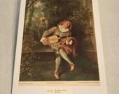 """1937 Art Print """"The Banjo Player"""" by Walteau"""