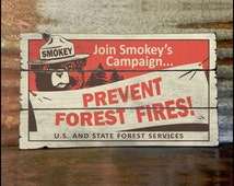 Smokey Bear, Prevent Forest Fires - Handcrafted Rustic Wood Sign - Original Alpine Graphics Design - 3 Sizes - 3071