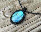 RESERVED for Erin C. Labradorite seed bead embroidered pendant