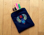 Digitally Embroidered Egyptian Scarab Beetle Zippered Pouch