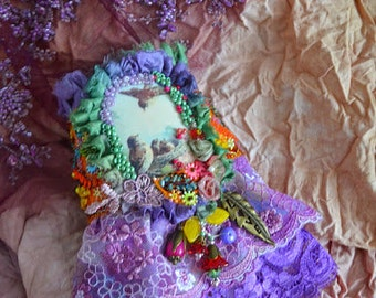 Bohemian Artsy cuff romantic bohemian cuff gypsy fairy hand beaded hand embroidered wrist wrap adjustable cuff