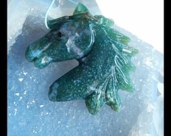 Carved Moss Agate Horse Head Gemstone Pendant Bead,51x44x9mm,26.32g