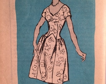 50s Scassi Dress for Cyd Charisse -Prominent Designer Pattern -Bust  36 - RARE