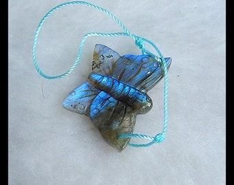 Carved Labradorite Butterfly Gemstone Pendant Bead,22x19x5mm,4.5g