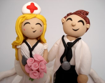 Wedding Cake Topper Nurse and Doctor Cake Toppers People Cake Topper Custom Wedding Topper Personalized Wedding Cake Toppers Bride and Groom