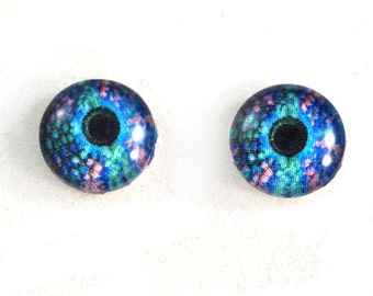 10mm Glass Eyes, Gecko Eyes, Glass Eyes, Eye Cabochons, Pink and Blue, Art Doll Eyes, Jewelry Making, Small Eyes, Taxidermy Eyes, Reptile