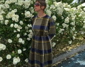 70s Check dress, Plaid pattern dress, yellow blue, knee length, Cacharel designer, vintage designer, gingham shift dress, vintage clothing