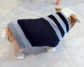 "Dog Sweater Hand Knit English Bulldog Black and Gray 19"" inches long"