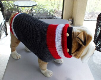 "Dog Sweater Hand Knit English Bulldog Sock Monkey Dark Grey  19"" inches long Merino Wool"