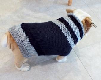 "Dog Sweater Hand Knit English Bulldog Black and Gray 19"" inches long"