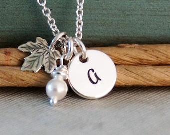 Maple Leaf with Initial tag Necklace / Personalized Sterling Silver / Hand Stamped Jewelry