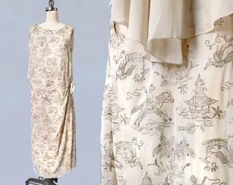 RARE! 1920s Dress / Narrative Figural GOLD Lamé Embroidery 20s Dress / Eastern Motifs Gold Bullion / Metal Fibers!