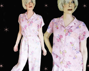 1940s Rayon Pajamas - Vintage Tiny Tommies - 40s PJs for Women
