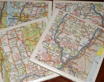 Vermont Road Map Coasters...Set of 4...Great for drinks, candles or hot cocoa